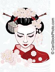 mujer, japonés, hermoso