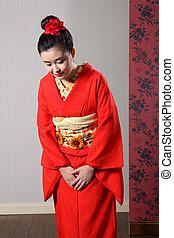 mujer, japonés, kimono, asiático, respeto, reverencia