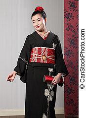mujer, japonés, kimono, negro, asiático, sonrisa