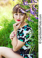 mujer, jardín, joven, Moda, retrato,  sensual