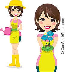 mujer, jardinería