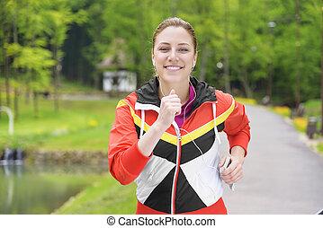 mujer, jogging.