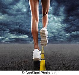 mujer, jogging
