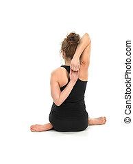 mujer, joven, actitud del yoga