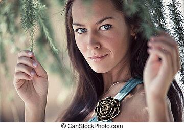 mujer joven, aire libre, retrato