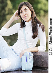 mujer, joven, aire libre