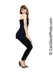 mujer, joven, aislado, leggings., negro, sexy