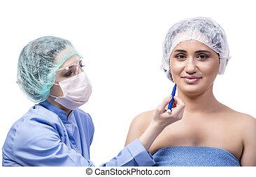 mujer, joven, aislado, plástico, preparando, cirugía, blanco