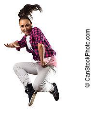 mujer joven, bailarín