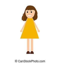 mujer, joven, caricatura