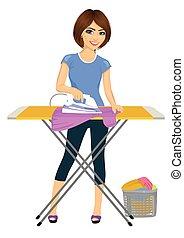 mujer, joven, clothes., quehacer doméstico, atractivo, ...