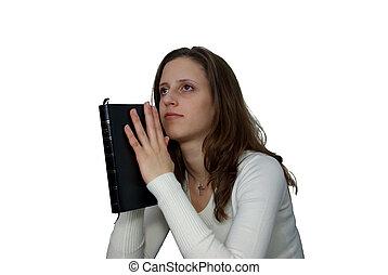 mujer joven, con, biblia, rezando