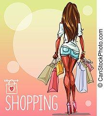 mujer joven, con, bolsas de compras, plano de fondo, con,...