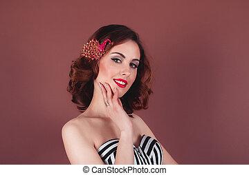 mujer joven, con, brillante, maquillaje, primer plano