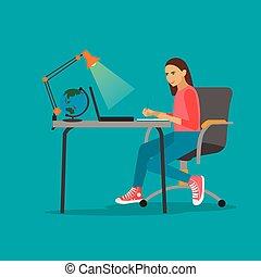 mujer joven, con, computador portatil, vector, ilustración, en, plano, estilo, design., niña, sentado, en, el, escritorio, y, trabajo encendido, computer., en línea, education.