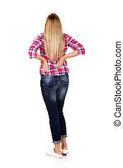 mujer joven, con, dolor de espalda