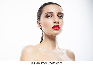 mujer joven, con, labios rojos