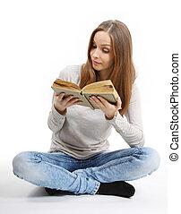 mujer joven, con, libro