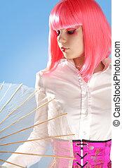 mujer joven, con, oriental, maquillaje, y, paraguas