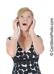 mujer joven, con, un, teléfono