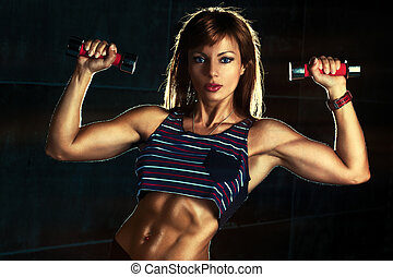mujer, joven, deportes