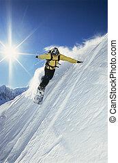 mujer joven, el snowboarding