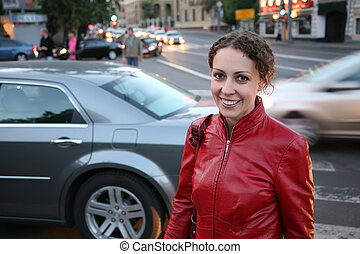 mujer joven, en, calle