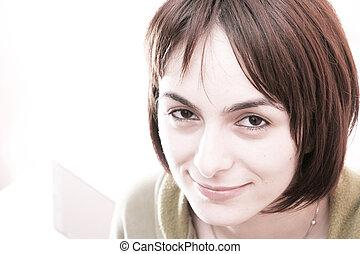 mujer joven, en cama