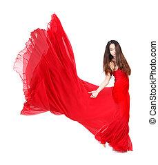 mujer joven, en, fluir, vestido rojo, blanco, plano de fondo