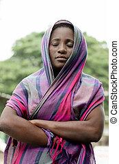 mujer joven, en, prayer.