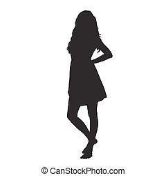 mujer joven, en, vestido del verano, posición, descalzo, vector, silueta