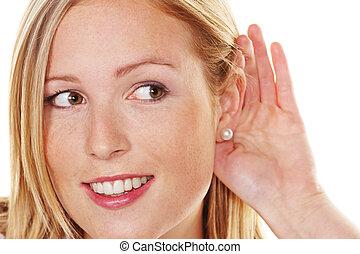 mujer, joven, escuchar