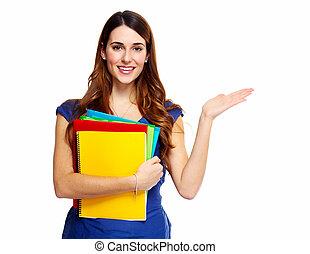 mujer joven, estudiante, con, un, book.