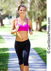 mujer joven, jogging
