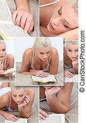mujer joven, lectura, en cama