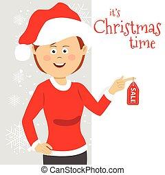 mujer joven, llevando, santa cláusula, disfraz, estantes, al lado de, blanco, tabla, con, tiempo de navidad, venta, texto