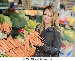 mujer, joven, Mercado