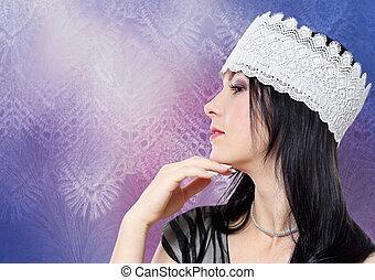 mujer joven, moda, estudio, perfil, retrato