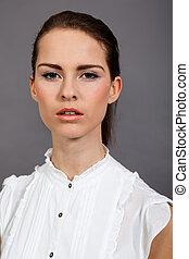 mujer, joven, morena, estudio, atractivo, retrato