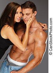 mujer, joven, muscular, desnudo, se abrazar, torso, hombre