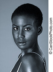 mujer, joven, norteamericano, dramático, africano, retrato