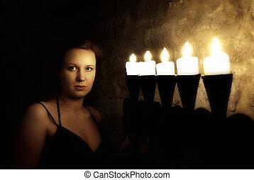 mujer, joven, oscuridad, misterioso, retrato, castillo