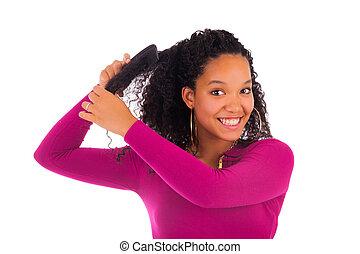 mujer, joven, pelo, norteamericano, cardadura, africano