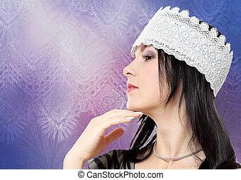 mujer joven, perfil, moda, estudio, retrato