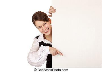mujer, joven, puntos, dedo, blanco, cartelera, feliz