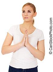 mujer joven, rezando, -, religión, concepto
