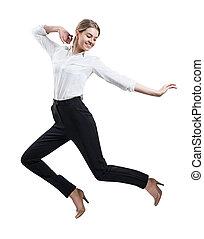 mujer, joven, saltar, uso, formal, feliz