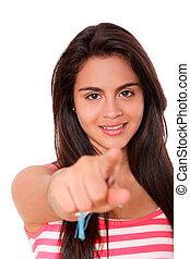 mujer joven, señalar