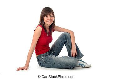 mujer joven, sentado