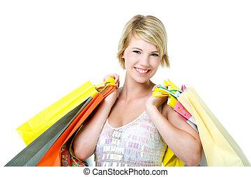 mujer, joven, shopping., feliz